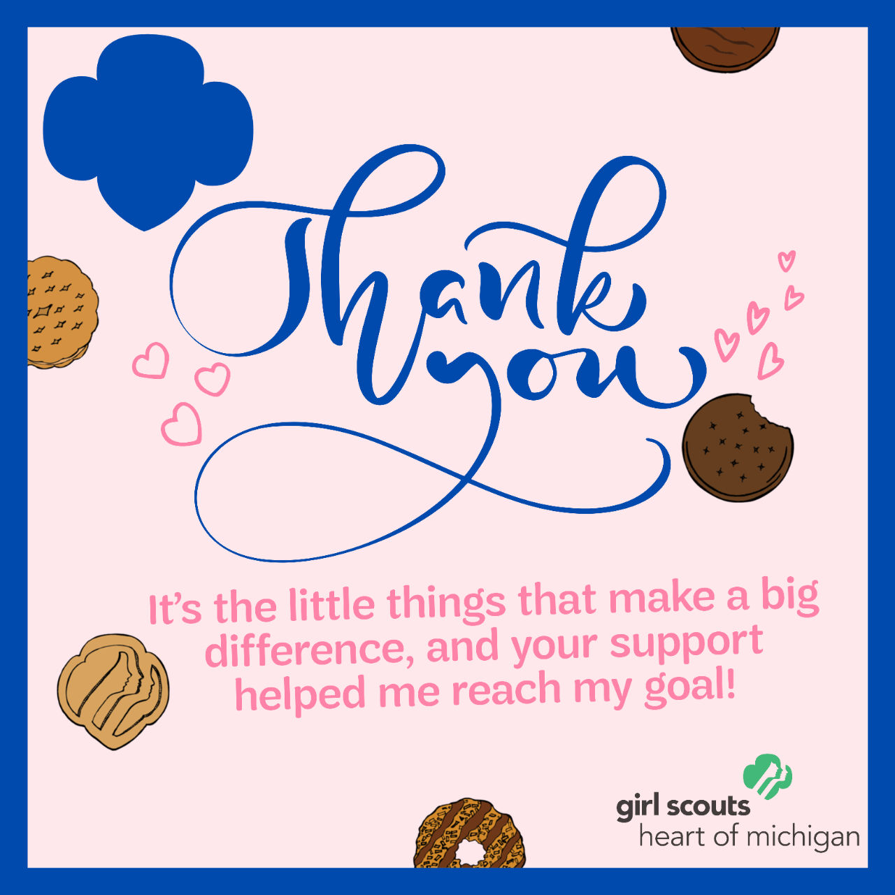 Thank You - Little Hearts Cookies