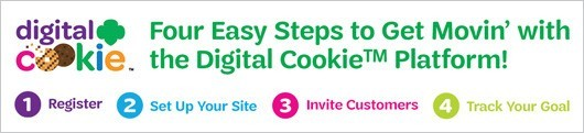 Four East Steps to Get Movin' with the Digital Cookie™ Platform!  1) Register. 2) Set up your site. 3) Invite customers. 4) Track your goal.